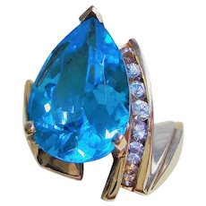 7.5 cwt. London Blue Topaz Diamond 10k Ring Size 7.25