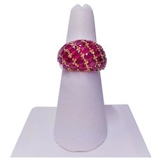 7 cwt. Red Ruby Domed Pave 14 Karat Gold Ring Size 6