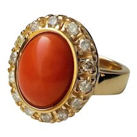 Italian Red Coral Diamonds 14 kt. Yellow Gold Ring Size 7