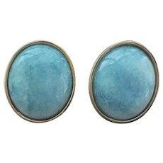 Vintage Translucent Blue Jadeite Jade Gold Vermeil Earrings
