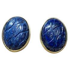 Vintage Carved Lapis Lazuli Gold Vermeil Earrings