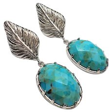 Genuine Turquoise Sterling Silver Earrings