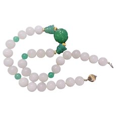 Vintage 1960's Chinese 12mm White Jade Carved Shou Chrysoprase Necklace
