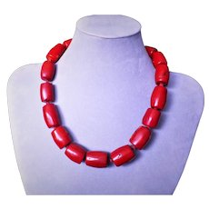 Vintage Ox Blood Red Coral Necklace Sterling Clasp