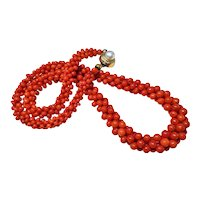 1890-1900 Antique Victorian Red Italian Coral Necklace