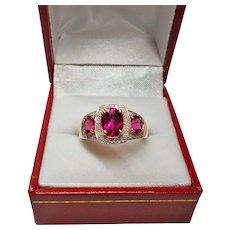 2.25 Cwt. Rubellite Tourmaline Diamond 14k Yellow Gold Ring Size 6.25