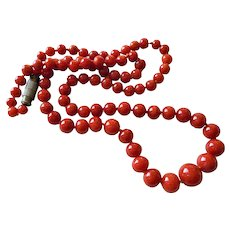 1930's Ox Blood Red Mediterranean Coral Graduated Necklace
