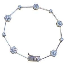 Vintage 10 kt. White Gold Cubic Zirconia Link Bracelet