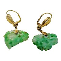 Chinese Art Deco Carved Apple Green Jadeite 14k Gold Earrings