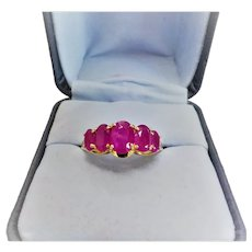 2.96 Cwt. Genuine Ruby 14 Karat Yellow Gold Ring Size 9