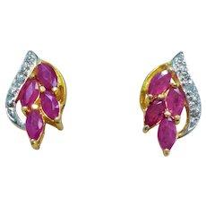 Vintage 1.4 ctw. Genuine Red Ruby Gold Vermeil Earrings