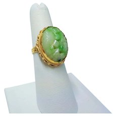 Chinese 14k Apple Green Carved Jade Ring Size 6.25