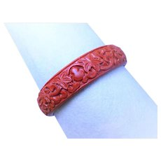 Chinese Vintage 1970's Carved Cinnabar Bangle