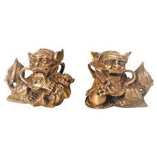 Chinese Brass Male and Female Shi Shi Foo Dogs