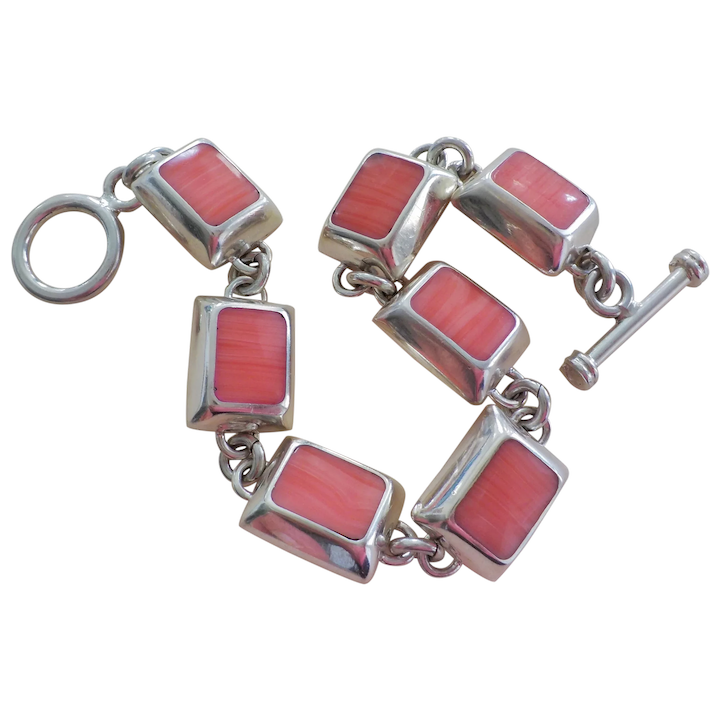 Sterling Silver Bracelet With Coral 7.5 INCH