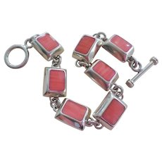 """Vintage Taxco Mexico Pink Coral Sterling Silver Bracelet 7.5 """" Length"""