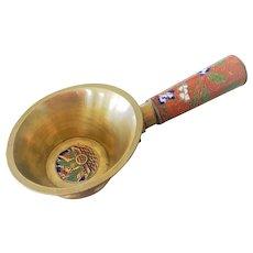 Chinese Cloisonne Brass Pan Silk Iron