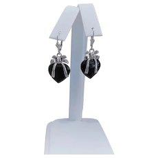 Vintage Black Onyx Sterling Silver Earrings