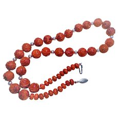 Vintage Chinese Carved Red Sponge Coral Sterling Silver Necklace