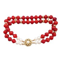 """Carved Red Coral White Cultured Pearls Gold Vermeil Bracelet 8.25"""" Length"""