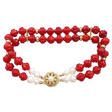 "Carved Red Coral White Cultured Pearls Gold Vermeil Bracelet 8.25"" Length"