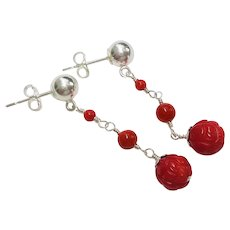 Ox Blood Red Coral Sterling Silver Earrings