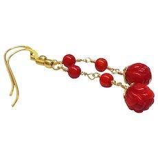 Dark Red Ox Blood Coral Gold Vermeil Earrings