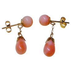 1920's Art Deco 9kt Yellow Gold Coral Earrings