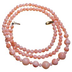 Victorian Coral Necklace 9ct Yellow Gold Clasp