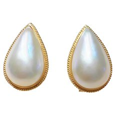 Chic Mabe Pearl Earrings in 14kt Gold  23mm Large