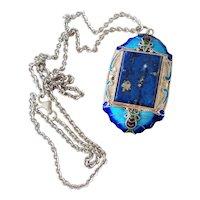 Chinese Art Deco Lapis Lazuli Enamel Butterfly Filigree Pendant Necklace