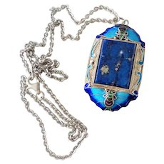 Chinese Art Deco Lapis Lazuli Enamel Butterfly Filigree Pendant Necklace