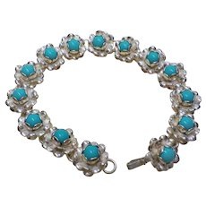 Vintage Sleeping Beauty Turquoise Sterling Silver Bracelet