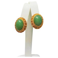 Art Deco Chinese Export 1920's Green Aventurine Filigree Enamel Gold Vermeil Earrings