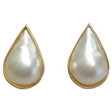 "Mabe Pearl Earrings in 14kt Gold 1"" Long"