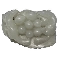 Chinese White Jade  Two Squirrels  Eating Grapes Carving