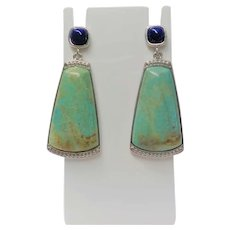Genuine Turquoise Lapis Lazuli Sterling Silver Earrings