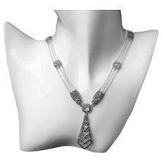 Art Deco Sterling Silver Marcasite Necklace