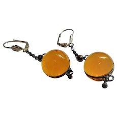 Amber Quartz Crystal Pools of Light Sterling Silver Earrings