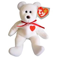 Rare Collectible 1993/1994 Ty Beanie Baby Valentino Bear with Multiple Errors