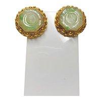 Chinese Export Art Deco Jadeite Gold Vermeil Filigree Earrings