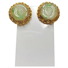 Chinese Export Art Deco Jadeite Gold Vermeil Filigree Earrings
