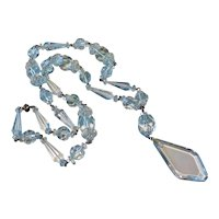 "Art Deco Carved Rock Quartz Crystal Necklace 30"" Long"