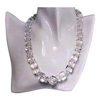Art Deco Carved Rock Quartz Crystal Necklace Sterling Clasp