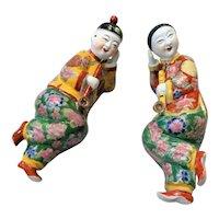 1940's Chinese Republic Porcelain Opium Smoking Man & Woman