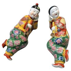 1940's Chinese Republic Porcelain Opium Smoking Man & Woman