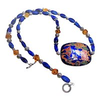 1900's Chinese Blue Peking Glass Cloisonne Necklace