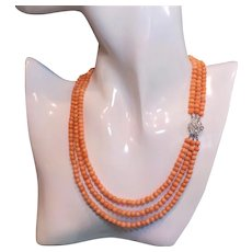 Art Deco 1920's Peach Coral 3 Strand Necklace Sterling Silver Paste Clasp
