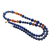"""Vintage Chinese Lapis Lazuli Carved Carnelian Necklace 34"""" Length"""
