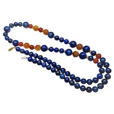 "Vintage Chinese Lapis Lazuli Carved Carnelian Necklace 34"" Length"